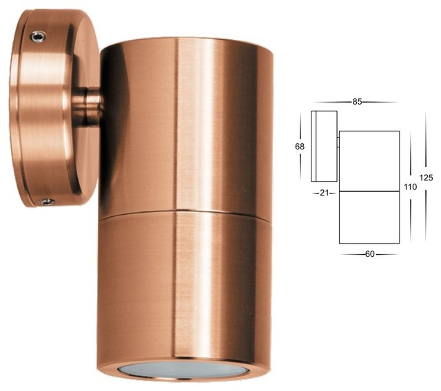 Hv1115 solid copper single fixed led wall light for Exterior lighting design