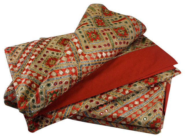 Indian Embroidered Colorful Bed Cover With Mirror Work