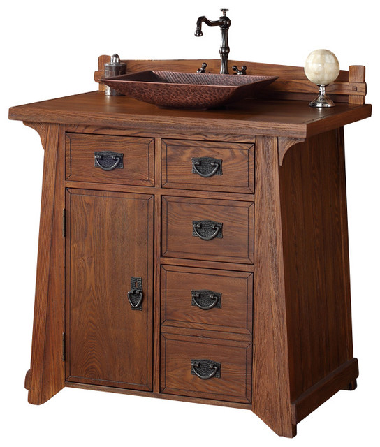 James Martin Pasadena 36 Antique Oak Single Vanity With Wood Top Craftsman Bathroom
