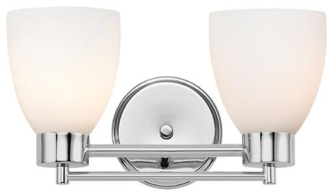 Bathroom Vanity Lights Chrome Finish : Modern Bathroom Light with White Glass in Chrome Finish - 702-26 GL1028MB - Bathroom Vanity ...