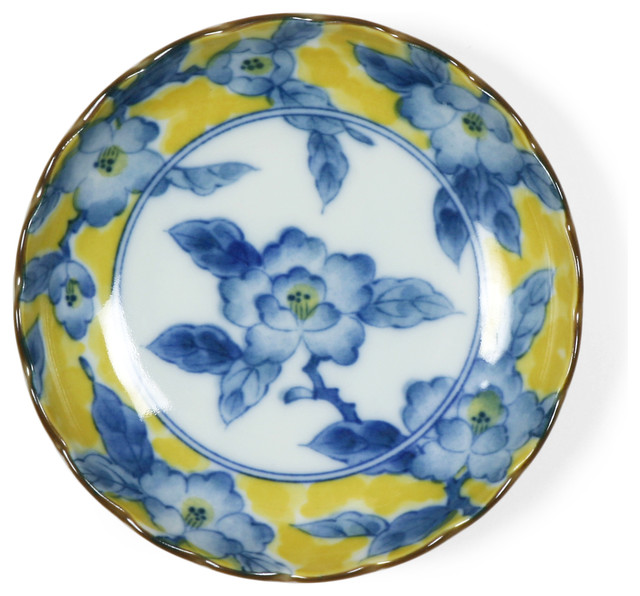 Yellow And Blue Floral Plate Asian Dinner Plates By
