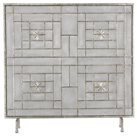 Sterling industries antique silver star panel fire screen for Silver fireplace doors