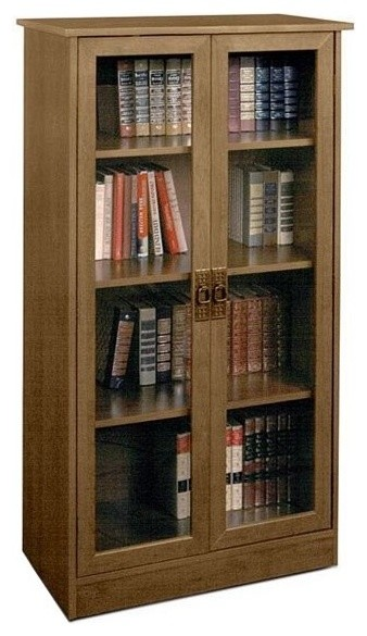 Ameriwood 4, Shelf Glass Door Barrister Bookcase in Inspire Cherry - Transitional - Bookcases ...