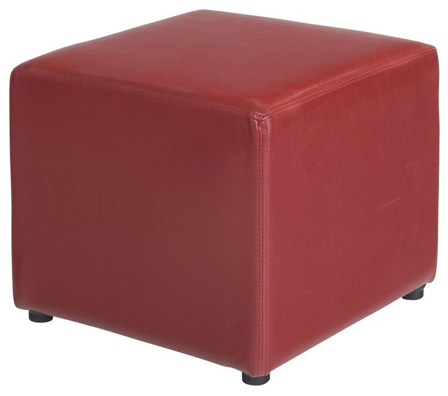 parker pouf carr rouge contemporain repose pieds. Black Bedroom Furniture Sets. Home Design Ideas