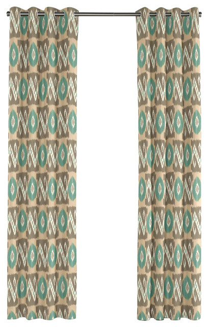 Tan And Teal Handwoven Ikat Grommet Curtain