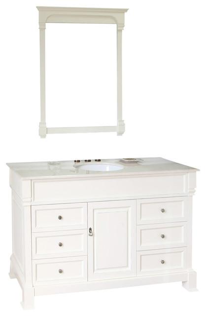 60 Inch Single Sink Vanity-Wood-Cream White