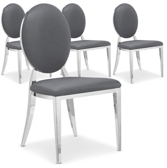 Lot de 4 chaises cassandra en simili cuir gris contemporary dining chairs - Chaise en simili cuir ...