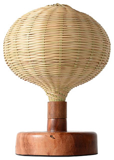 rustic style bamboo shade table lamp with wooden base transitional table lamps by parrotuncle. Black Bedroom Furniture Sets. Home Design Ideas