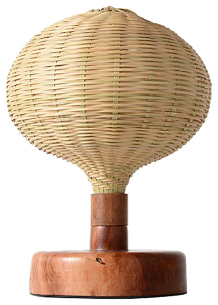 Rustic Style Bamboo Shade Table Lamp With Wooden Base