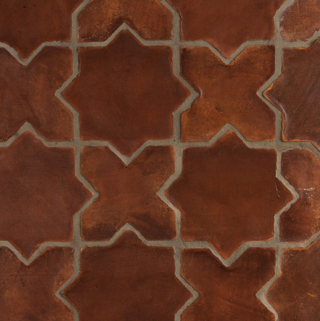 Spanish stained terracotta tiles mediterranean wall for Spanish style floor tiles