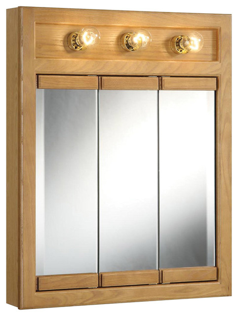 richland 24 3 light tri view medicine cabinet nutmeg oak