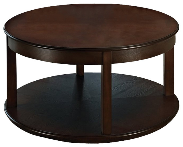 Steve Silver Company Crestview Round Spinning Cocktail Table In Espresso Finish Contemporary