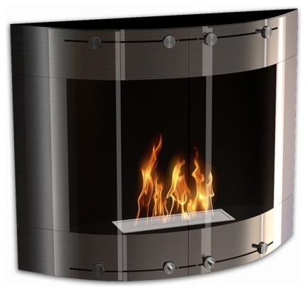 Arch modern ventless wall mounted ethanol fireplace for Ventless fireplace modern