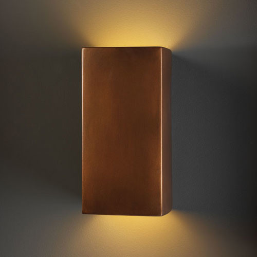 Ambiance Antique Copper Large Rectangle Outdoor Wall Sconce - Modern - Wall Lighting - by Bellacor
