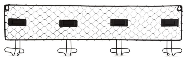 black pat re 4 crochets en acier noir industriel porte. Black Bedroom Furniture Sets. Home Design Ideas