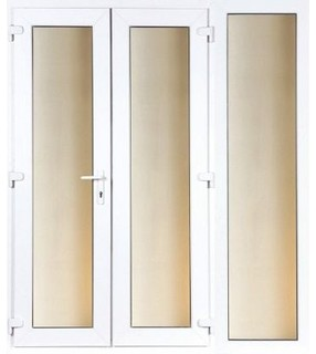 6ft french and 1 wide sidelite 2390mm wide modern for Upvc french doors homebase
