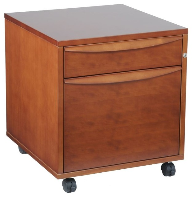 ... File Cabinet W/ Castors - Cherry - Contemporary - Filing Cabinets