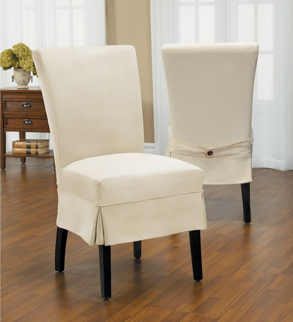 Dining Room Slip Covers: Duck Mid-Pleat Relaxed Fit Dining Chair Slipcover With
