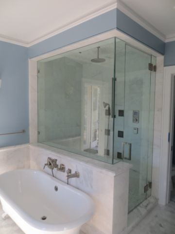 Steam Shower And Clawfoot Tub Transitional Bathroom