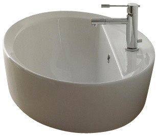 oval shaped white ceramic built in sink one hole contemporary bathroom sinks by thebathoutlet. Black Bedroom Furniture Sets. Home Design Ideas