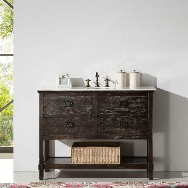 Abel 48 Inch Rustic Brown Wash Bathroom Vanity Marble Top Rustic Bathroom Vanities And Sink