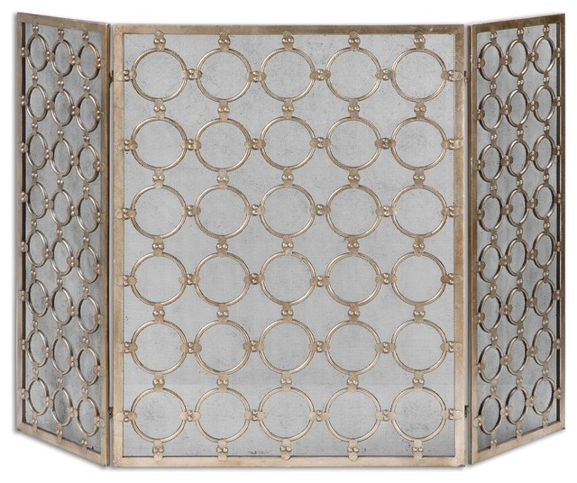 Silver Fireplace Doors : Silver fireplace screen modern burnised chagne