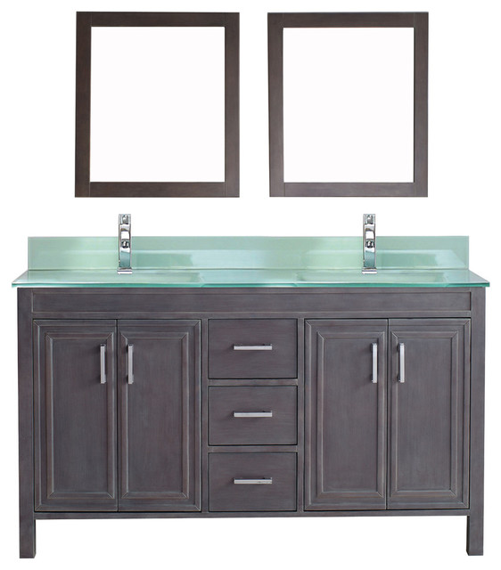 Corniche Vanity Set, French Gray And Mint Green Glass, 60''