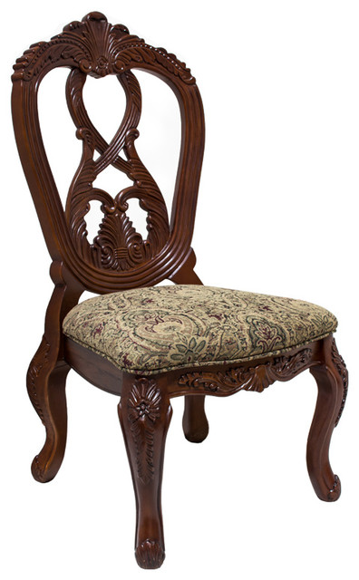 Formal Dark Cherry Dining Armless Side Chairs, Set of 2 - Victorian - Dining Chairs