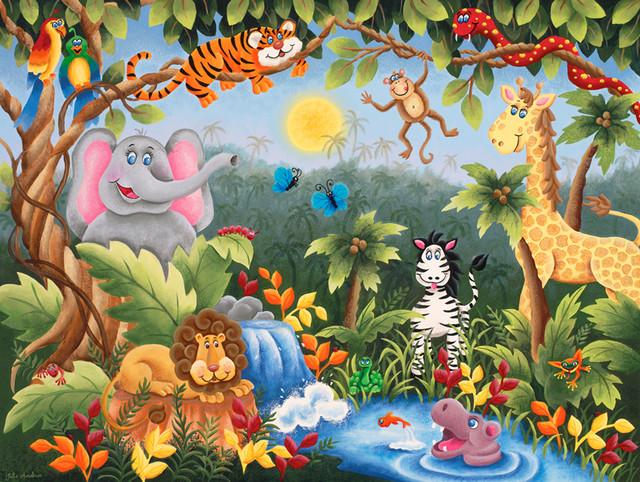 jungle fun wall mural contemporary wallpaper pics photos painted by david miller jungle dreams