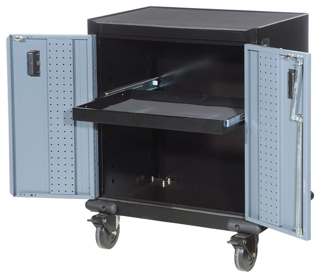 "27"" 2-Door Industrial Grade Tool Trolley - Contemporary - Garage And Tool Storage - by International"