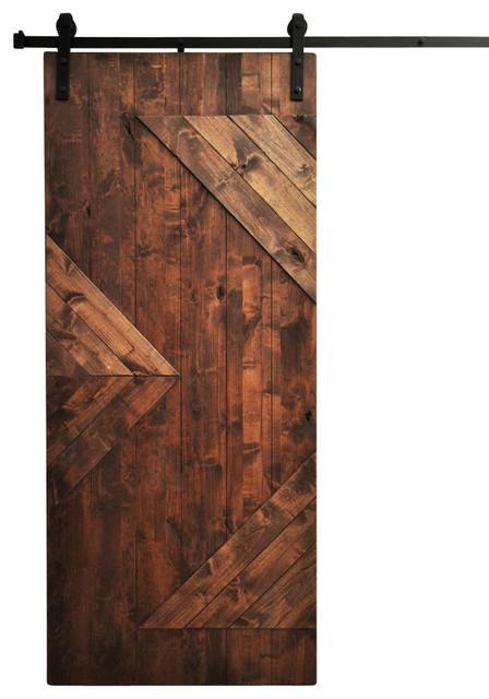 Barn door zig zag walnut 48 x96 modern interior for 48 inch barn door
