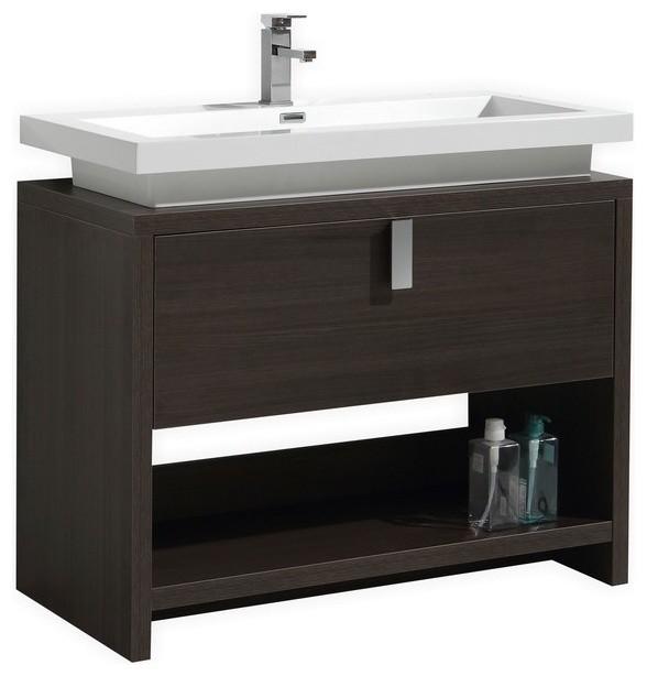 Tona Levi Modern Bathroom Vanity With Cubby Hole Gray Oak