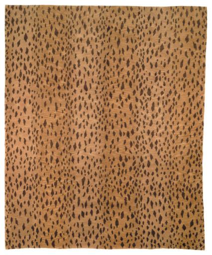 Tibetan leopard print rug modern rugs for Leopard print wall to wall carpet