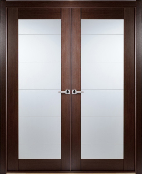 Contemporary african wenge interior double door lined for Exterior double doors with glass