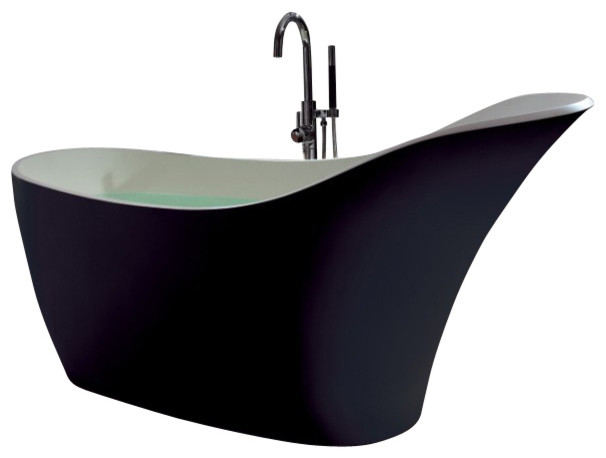 Adm solid surface stone resin stand alone bathtub black for Freestanding stone resin bathtubs