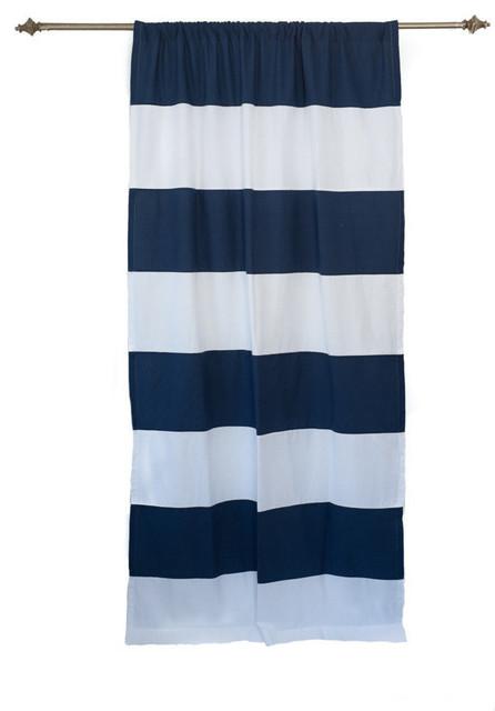 Organic Navy And White Horizontal Stripe Curtain Panel