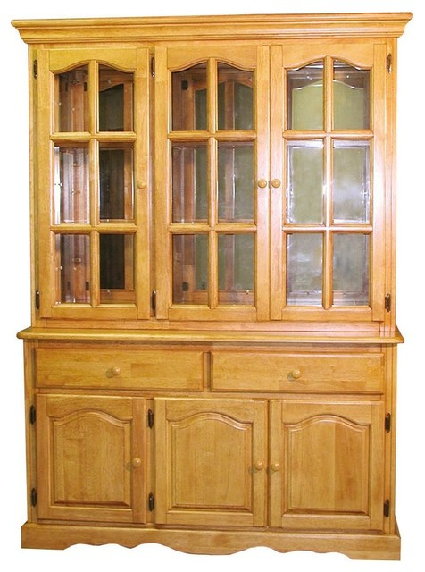 55 in. Buffet with Hutch in Light Oak - Contemporary - China Cabinets And Hutches