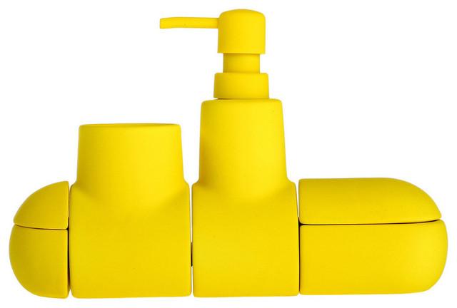 Submarino bathroom set yellow contemporary bathroom for Yellow bathroom set