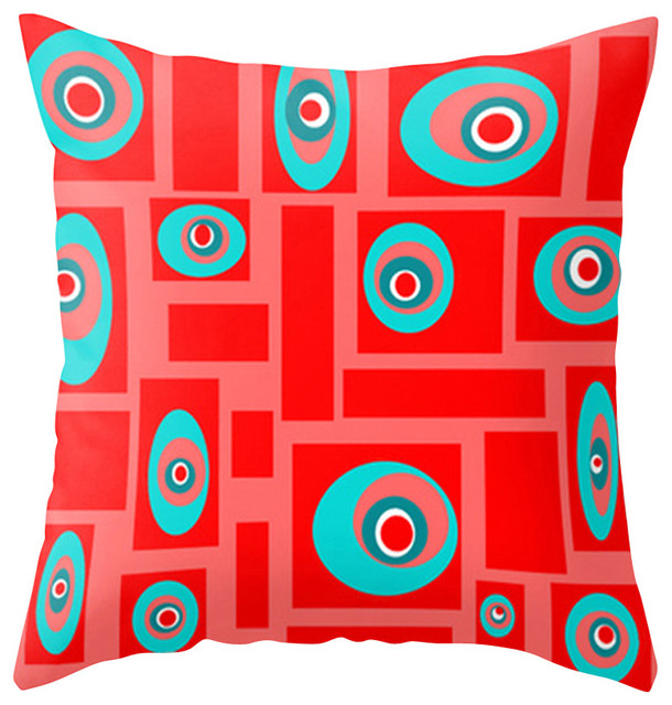 Core Outdoor Throw Pillow Red and Turquoise