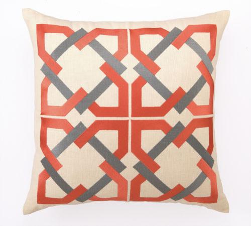 Trina turk geometric tile embroidered orange grey pillow