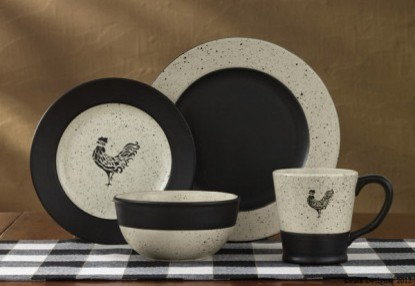 Black And White Dinnerware Set With Roosters