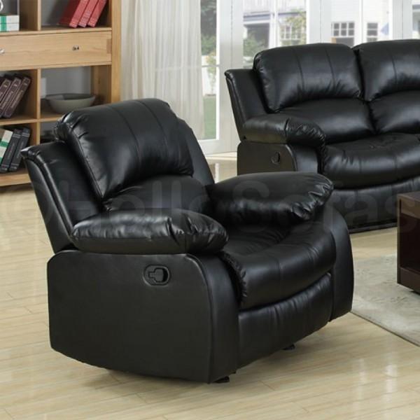 knightsbridge black leather recliner 3 2 seater sofa