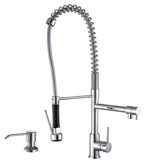 ruvati 28 quot pre rinse kitchen faucet with soap dispenser