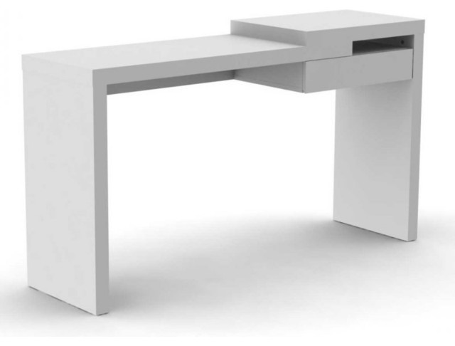 Temahome reef bureau design laqu blanc mate avec tiroir for Meuble bureau contemporain
