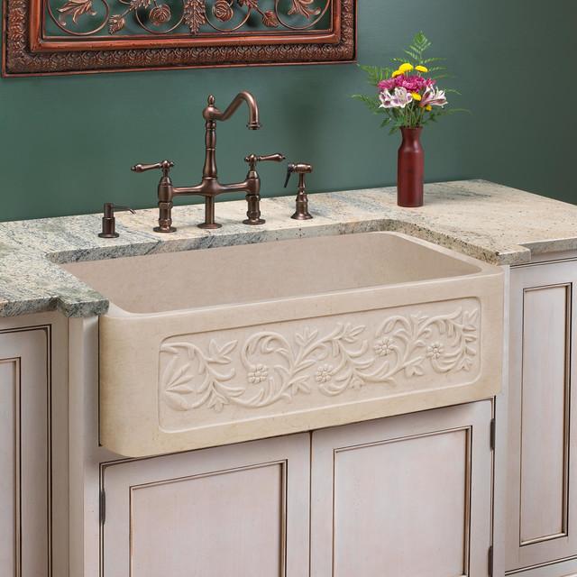 30 vine design polished marble farmhouse sink cream for Kitchen designs egypt