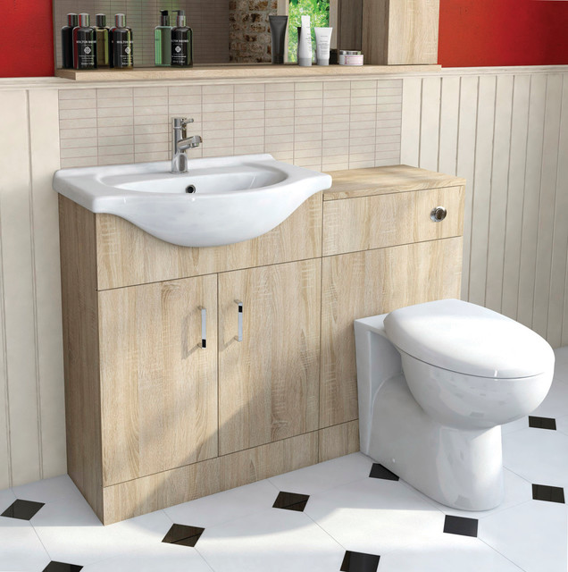 Sienna oak arc combination vanity unit large - Bathroom combination vanity units ...