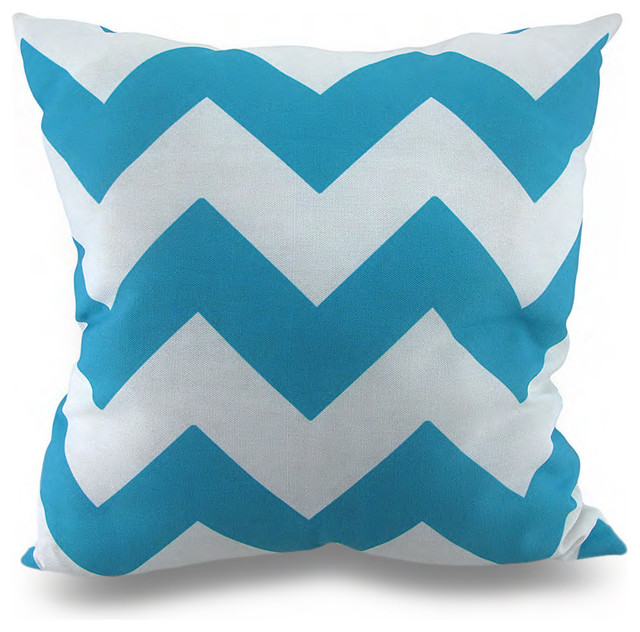 Turquoise Blue and White Chevron Print Indoor Outdoor