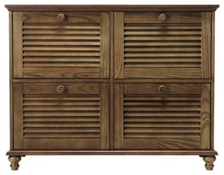 Four-Drawer File Cabinet, Weathered Oak - Traditional ...