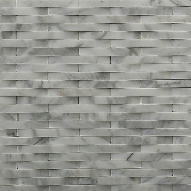 3d interlace white carrera marble tile traditional for 3d bathroom planner tiles