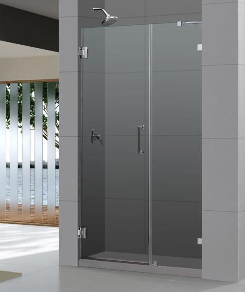 Clear Glass Hinged Shower Door : Unidoorlux quot frameless hinged shower door clear